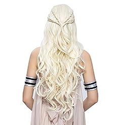 Daenerys Targaryen Cosplay Wig for Game of Thrones Season 7 – Khaleesi Costume Hair Wig (Light blonde)