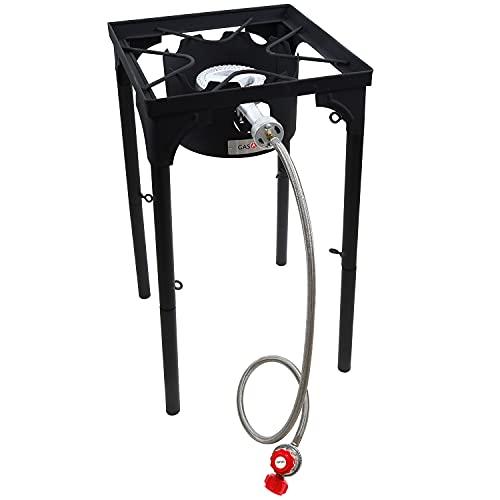GasOne Propane Single Burner Camp Stove & Red QCC Steel Braided Regulator with Height Adjustable Leg