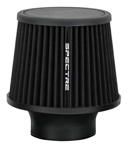 Spectre Universal Clamp-On Air Filter: High Performance, Washable Filter: Round Tapered; 3 in (76 mm) Flange ID; 6.5 in (165 mm) Height; 6 in (152 mm) Base; 4.75 in (121 mm) Top, SPE-9131, Black