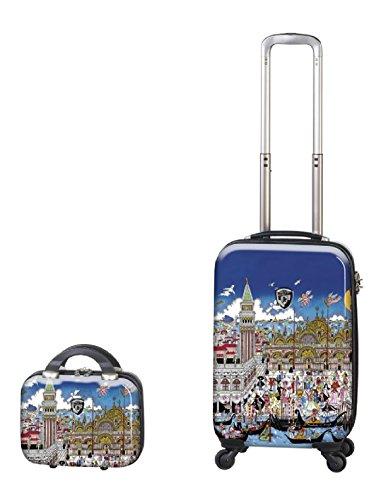 Kofferset, Gepäckset, Reisegepäck by Heys - Premium Designer Hartschalen Kofferset 2 TLG. - Künstler Fazzino Venezia Handgepäck + Beauty Case