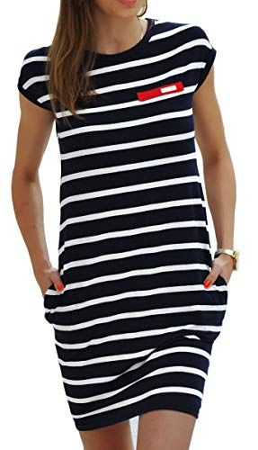 Sommerkleider Damen Kurzarm Kleider Jerseykleid Freizeitkleid Mini Dress Strandkleid Maritime S M L XL (340 Dunkelweiße Streifen, L)