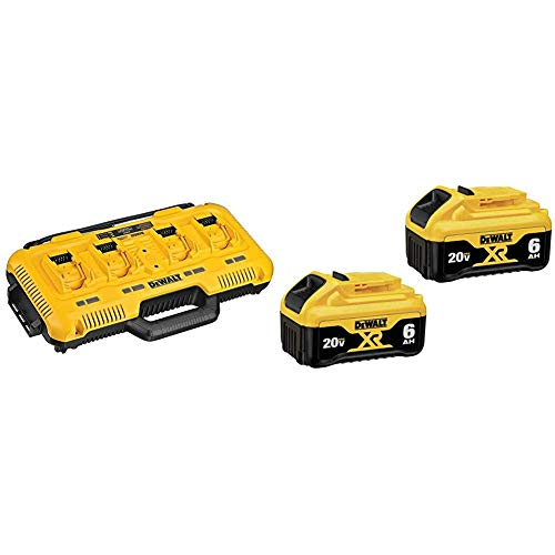 DEWALT 20V MAX Charger, 4-Port, Rapid Charge (DCB104) & (DCB206-2) 20V MAX Battery, Premium 6.0Ah Double Pack