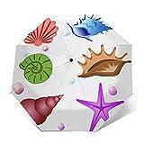 Paraguas Plegable Automático Impermeable Conchas de mar de Animales de Acuario, Paraguas De Viaje Compacto a Prueba De Viento, Folding Umbrella, Dosel Reforzado, Mango Ergonómico