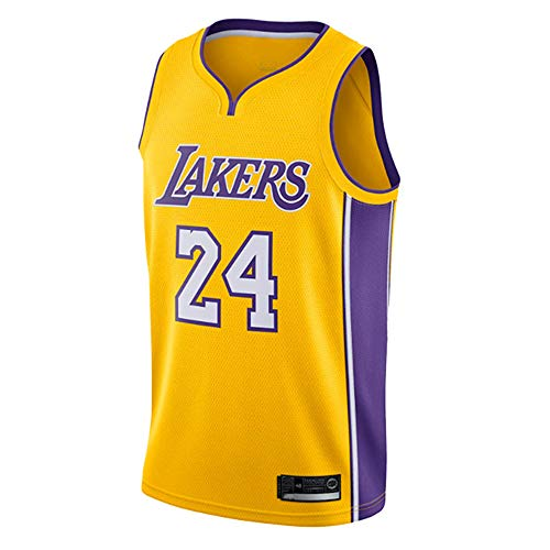 Herren Retro Basketball Uniform NBA Lakers 24# Kobe Bryant Sommersport Trikot, Basketballhemd Klassisches Stickerei-T-Shirt
