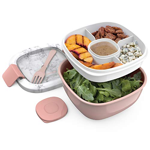 Bentgo Salad - Stackable Lunch Container with Large 54-oz Salad Bowl, 4-Compartment Bento-Style Tray for Toppings, 3-oz Sauce Container for Dressings, Built-In Reusable Fork & BPA-Free (Blush Marble)