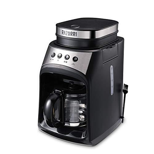 Razorri Elektrisch auto Kaffeemaschine Grind und Brew Kaffee Mahlwerk mit Filter Warmhalteplatte & Tropf-Stopp Funktion, 560ml Glaskanne, 600W, Black
