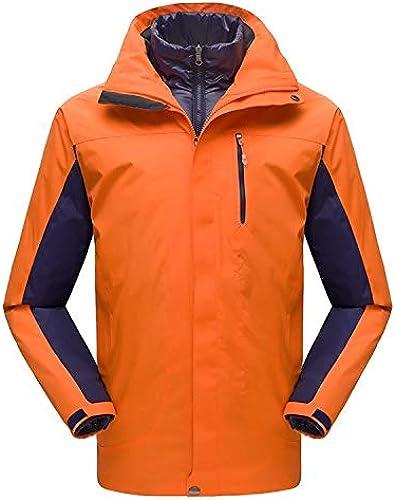 Vestes de Plein air pour Hommes et Femmes Vestes en Duvet à Deux pièces Coupe-Vent VêteHommests de Travail Chauds, Orange-Hommes, S