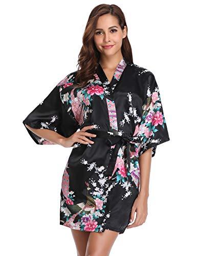 Vlazom Kimono Mujer Bata Japones Satén Corto Estampado