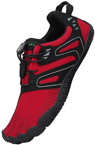 SAGUARO Herren Barfussschuhe Damen Sommer Barfuß Schuhe Atmungsaktiv Traillaufschuhe Sport Fitnessschuhe Barefoot Shoes, Rot 37