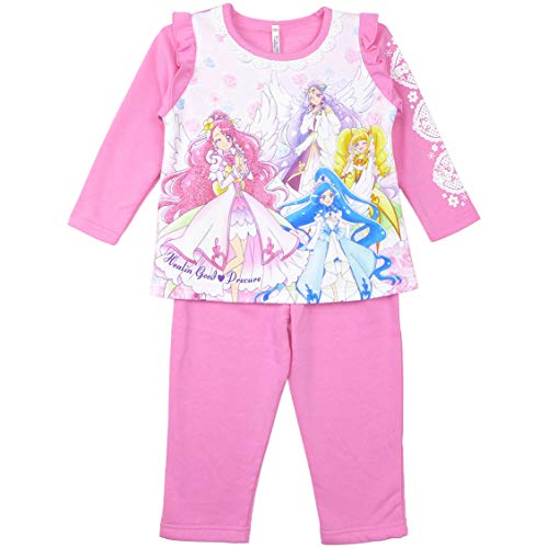 ヒーリングっどプリキュア 女児裏起毛長袖パジャマ 光るパジャマDX キャラクター (120cm, ピンク)