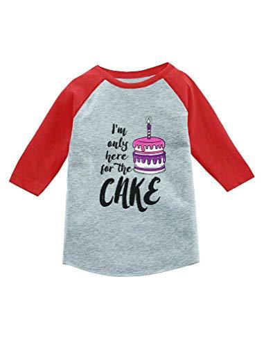 Camiseta infantil de beisebol com manga 3/4 I'm Only Here for The Cake Birthday, Vermelho, 4T