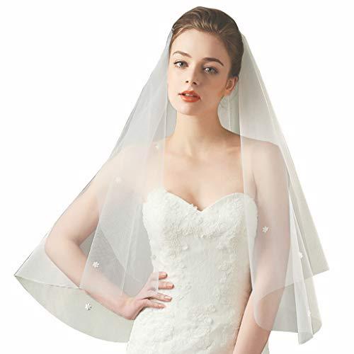 planuuik Copricapo da Sposa in Tulle da Donna con Copricapo da Sposa in Perle con Petali di Fiori