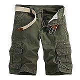 GreatestPAK Pants Pure Color Shorts Herren Outdoor Taschen Strand Arbeit Hosen Cargo...
