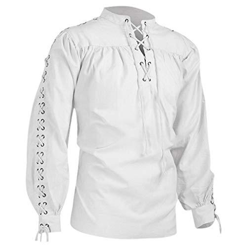 Luckycat Camisa Escocesa de Hombre Medieval Manga Larga Disfraz Clasico de Edad Media de Escocia Ropa Vintage Hombre Otoño Invierno Retro Vendaje Camiseta Medieval Hombre Gótico Blusa Tops Camisa