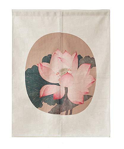 LIGICKY Cortina de estilo japonés Noren de lino de algodón grueso para decoración del hogar, 85 x 120 cm (flor de loto vintage)