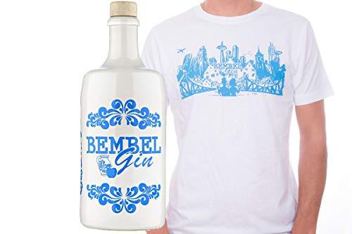 Bembel Gin - Hessischer Apfel Gin + T-Shirt Geschenkpaket mit Frankfurter Skyline Motiv (0,7l) (Men XXL)
