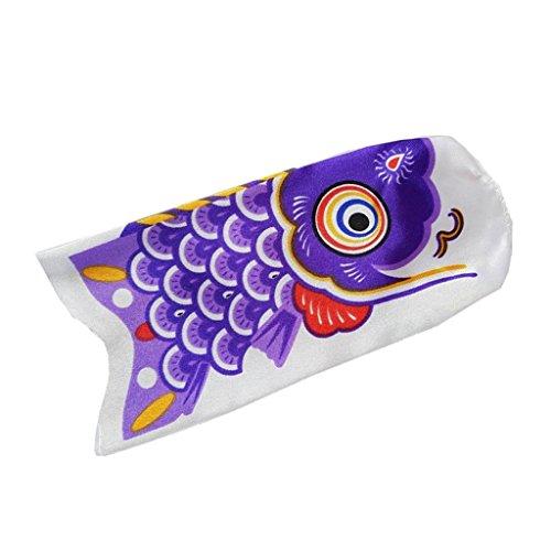 Inzopo - Bandera de carpa de Koinobori japonesa de pescado colgante Koi Nobori Sailfish – Morado, 15 cm