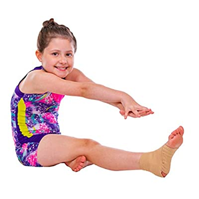 BraceAbility Kids Elastic Ankle Support | Youth Foot Sleeve Wrap & Arch Support Strap for Child Ankle Instability, Athletic Protection, Gymnastics, Soccer (Small)