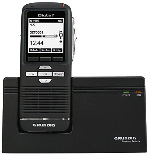 Grundig Digta 7 digitales Diktiergerät im Premium Set , Handgerät mit Dockingstation, Diktiersoftware und Zubehör