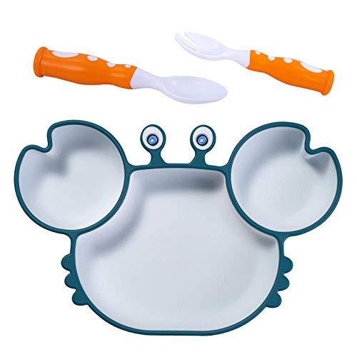 Ykun Kinderteller/Saugnapfschale Silikon-Anti-Drop-Zusatzschale-Krabbe