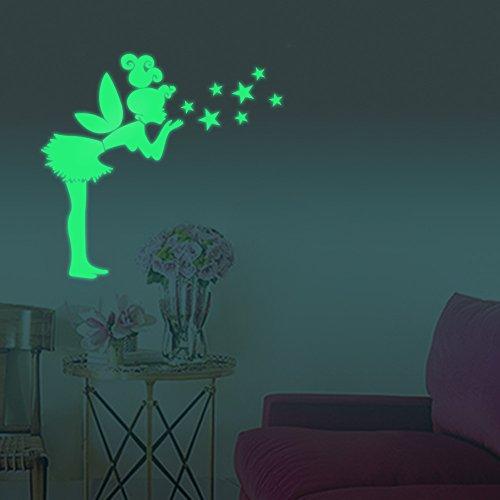FESKIN Angelo Stelle Adesivi da Parete fluorescenti e brillanti al buio - Casa Camera da Letto Soggiorno, Regalo di Feste Natale Compleanno per Bambini