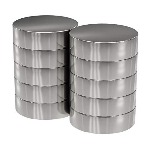 10x Neodym Power Magnet Silber - Scheibenmagnet extra stark rund - Durchmesser 18x5mm hoch - Starke Supermagnete - Haftkraft ca. 7 kg - Magnete für Whiteboard, Pinnwand, Magnettafel, Werkstatt