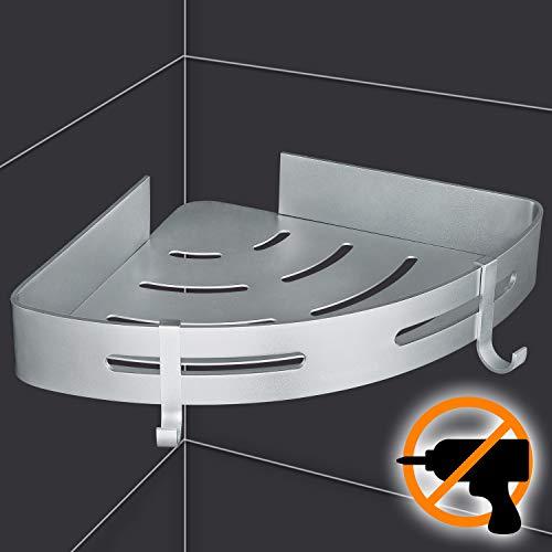 Wangel Eckablage Duschkorb Duschablagen ohne Bohren für Bad, Patentierter Kleber + Selbstklebender Kleber, Aluminium, Matte Finish, Badregal