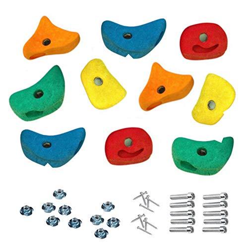 10 Stück h2i Klettersteine Klettergriffe für Kletterwand - mittel - 11,0 x 11,0 cm für Kinder und Erwachsene