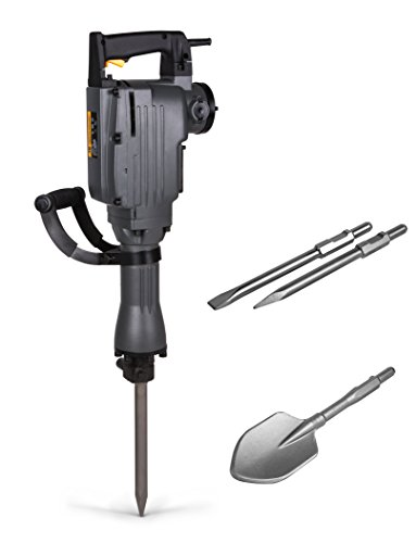 TR Industrial-Grade 4-Piece Electric Demolition Jack Hammer, with 3 Bits - Point, Flat, Scoop Shovel Spade Bit
