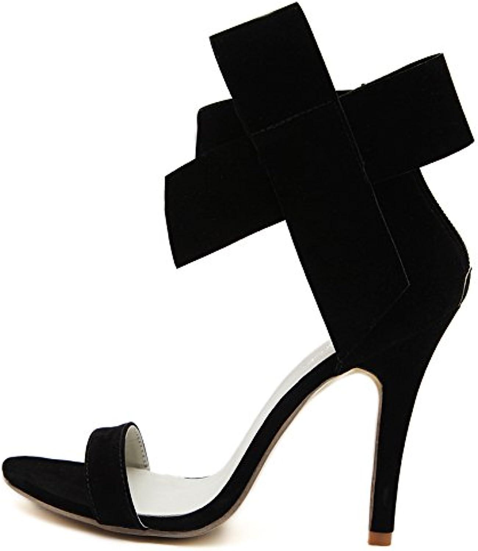 WHW Women's Hole shoes Leatherette Summer Outdoor Dress Casual Walking Platform Sandals,black,39