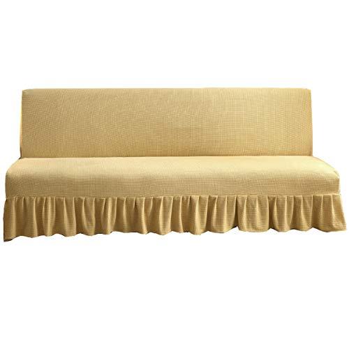 CENPENYA Sofabezug ohne Armlehnen mit Rock, Couchschoner, passend für faltbares Sofa oder Bett ohne Armlehnen (Daoxiang Gelb,180-200cm)