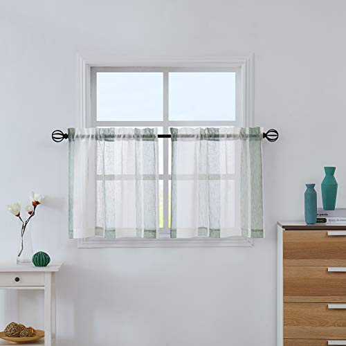 """Central Park Sage Green and White Kitchen Window Curtain Tiers Vertical Stripe Sheer Boucle Linen Window Curtain, Living Room Decorative Rod Pocket Rustic Living 2 Panels (28"""" W x 24"""" L)"""