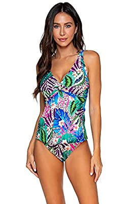 Sunsets Women's Forever Bra Sized Tankini Top Swimsuit with Hidden Underwire, Island Safari, 36DD