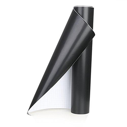 Rupse Carbon Folie Aufkleber, 4D Autofolie Carbon Folie Aufkleber DIY Decor Wasserdicht Car Stickers(50x152cm Schwarz)