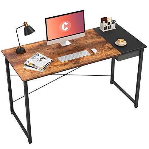 Cubiker Computer Desk 47' Home Office Writing Study Laptop Table, Modern Simple Style Desk with Drawer, Rustic Black
