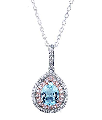 KnBoB Sterling Silver Pendants Women Pear Blue Topaz with Cubic Zirconia Necklace for Wedding Party