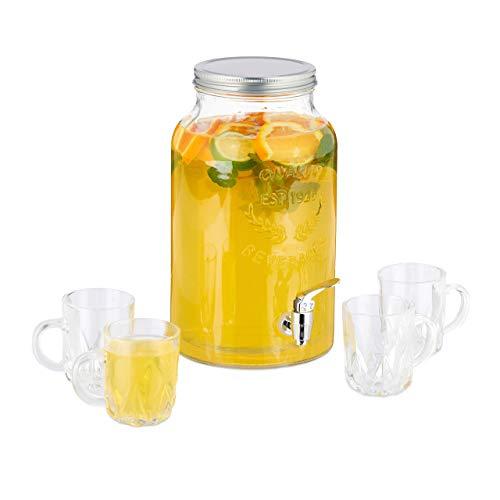 Relaxdays Getränkespender Set, Glas Wasserspender 5,5 L, 4 Trinkgläser, Retro, Saftspender mit Zapfhahn, transparent