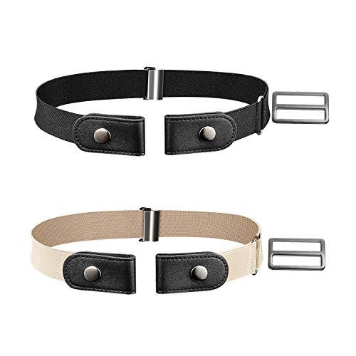 Cinturón Elástico Sin Hebilla,2 Piezas Unisex Invisible Cinturón Ajustable para Jeans Pantalones Vaqueros Negro/Caqui 80cm