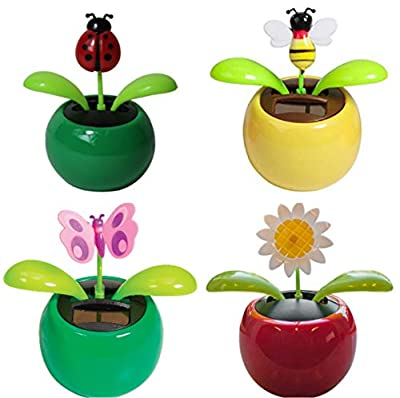 4 Eco-Friendly Solar Dancing Flowers in Colorful Pots. Decoration Gift. No Battery Required (1 Ladybug,1 Butterfly,1 Bee,1 Sunflower)