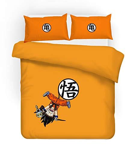 HRX Juego de funda de edredón y dos fundas de almohada, diseño clásico de anime 3D Dragon Ball, estampado digital, material de microfibra