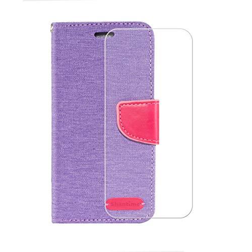 YZKJSZ Cover per Xiaomi Black Shark 4 PRO (6.67') + Pellicola Protettiva in Vetro Temperato Silicone TPU Custodia Case Flip Stand in PU Pelle Portafoglio Custodie - Porpora