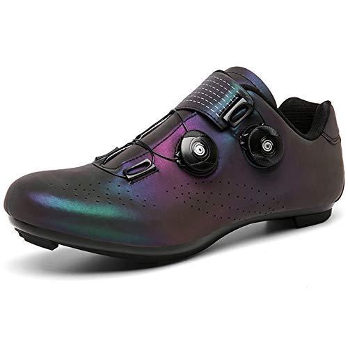 YQSHOES Zapatillas Ciclismo Bicicleta Carretera Mujer Hombre Zapatillas Montar Compatibles con SPD Delta Cleats para Interior/Exterior,Vistoso,42EU/8.5UK/9US