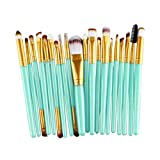 AugSep 20pcs Make up Brush Sets, Foundation Eyebrow Eyeliner Blush Cosmetic Concealer Brushes (Gold)