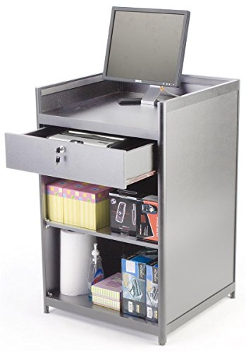 Silver Laminate Cash Register Stand with Locking Drawer and Adjustable Storage Shelf, 24 x 38 x 23-3/4-Inch