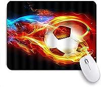 マウスパッド 個性的 おしゃれ 柔軟 かわいい ゴム製裏面 ゲーミングマウスパッド PC ノートパソコン オフィス用 デスクマット 滑り止め 耐久性が良い おもしろいパターン (ファイアーサッカー)