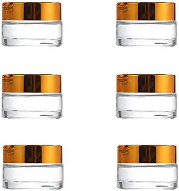 6PCS 5G Transparent Glass Cream Jars with Inner Liners and Gold Screw Lid Refillable Empty Cosmetic product image