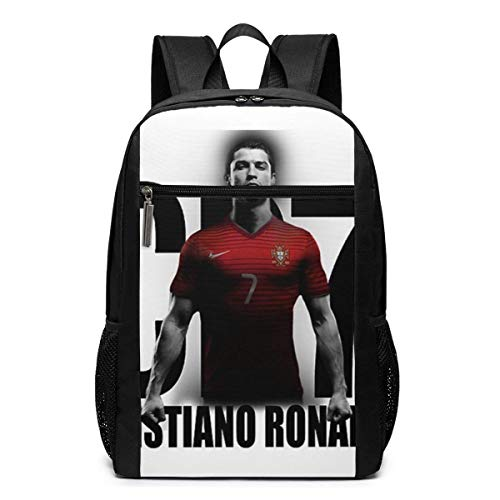 Lsjuee Cristiano Ronaldo Portugal CR7 Mochila Unisex Mochila Escolar Diaria Mochila Ligera de Viaje Informal para Acampar al Aire Libre