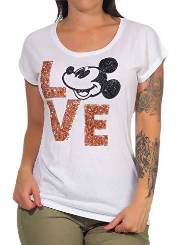 Hailys Damen Mickey Mouse T-Shirt Comic-Pailletten-Print Avery AY-D3364 White M