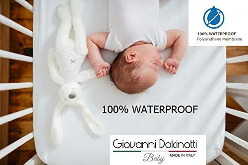Giovanni Dolcinotti Coprimaterasso Impermeabile e Traspirante, Compatibile a Chicco Next2me,con Bordi 100% Cotone, Made in Italy (50x83)