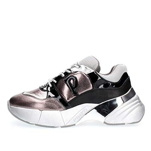 Pinko OLIVO, Sneaker Infilare Donna, Multicolore (Argento/Nero Iz2), 37 EU